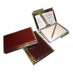 ETUI NA WIZYTÓWKI OSOBISTE KW-38S - metalowe z notesikiem i długopisem wykończone skórą naturalną - kolekcja CLASSIC TOMI GINALDI Wizytowniki i skorowidze