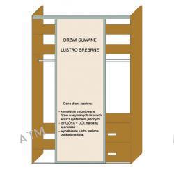 DRZWI SUWANE STAL LAKIEROWANA MONTREAL + LUSTRO SREBRNE do szerokości 550mm