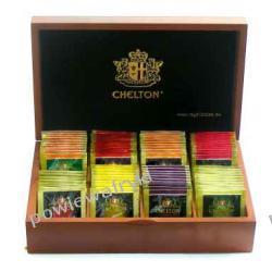 Chelton prezenter drewniany , herbaty 80szt