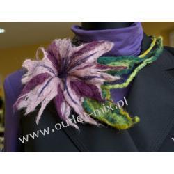 naszyjnik z filcu, fioletowy kwiat
