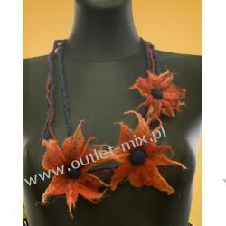 naszyjnik z filcu, 3 kwiaty