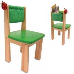 Soldne drewniane krzesełko zielone z serii Biedronka