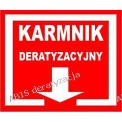 """TABLICZKI OSTRZEGAWCZE """"KARMNIK DERATYZACYJNY""""PCV TKD-1 na podłożu z PCV"""
