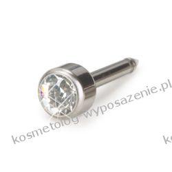 Kolczyk do przekłuwania uszu - Naturalny tytan medyczny Bezel 4mm 12-1201-01