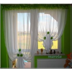*10* Nowa, urocza firana okno + balkon + kwiaty Firany gotowe
