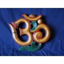 symbol OM drewniany - płaskorzeźba Tybet @ NEPAL