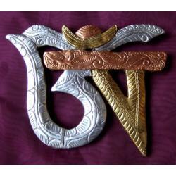Symbol OM 3 METALE płaskorzeźba Tybet @ NEPAL