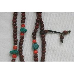 buddyjska MALA - drewno i turkus - Nepal - buddyzm
