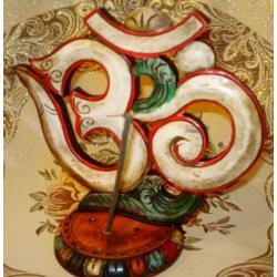 PODSTAWKA kadzidła Symbol bialy OM drewno NEPAL