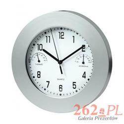 Duży zegar ścienny, termometr i higrometr