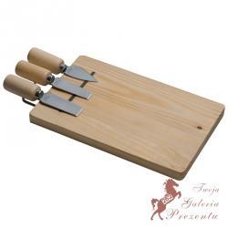 Zestaw do sera 3 noże + drewniana deska z magnesem