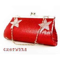 Torebka kopertówka gwiazdki czerwona