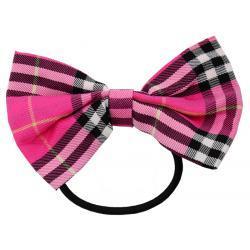Gumka do włosów w kratkę kolor różowy