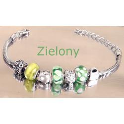 Bransoletka jak Charms Pandora kolor zielony