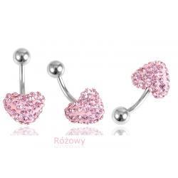 Piercing duża kulka cyrkonie różowy