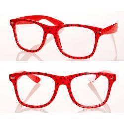 Okulary wayfarer zerówki w kropki czerwone