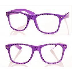 Okulary wayfarer zerówki w kropki fioletowe