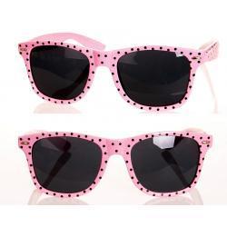 Okulary Wayfarer przeciwsłoneczne w kropki różowe