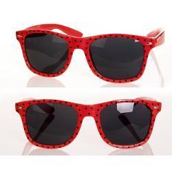 Okulary Wayfarer przeciwsłoneczne w kropki czerwone