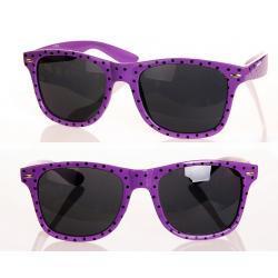 Okulary Wayfarer przeciwsłoneczne w kropki fioletowe