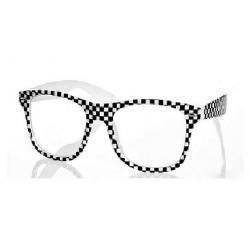 Okulary Wayfarer zerówki szachownica biała