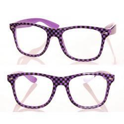 Okulary Wayfarer zerówki szachownica fioletowe