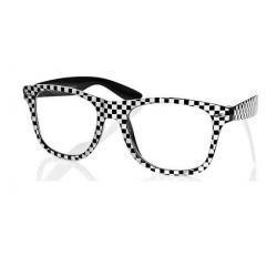 Okulary Wayfarer zerówki szachownica czarna