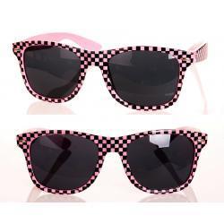 Okulary Wayfarer przeciwsłoneczne szachownica różowe