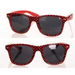 Okulary Wayfarer przeciwsłoneczne szachownica czerwone
