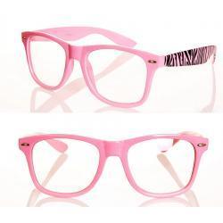Okulary Wayfarer zerówki zebra new różowe