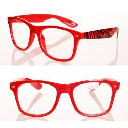 Okulary Wayfarer zerówki zebra new czerwone