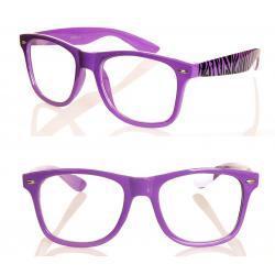 Okulary Wayfarer zerówki zebra new fioletowe