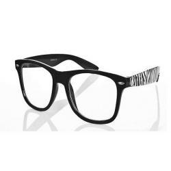 Okulary Wayfarer zerówki zebra new czarne