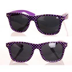 Okulary przeciwsłoneczne Wayfarer szachownica fioletowe