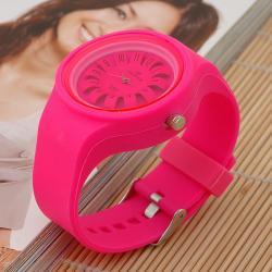 zegarek flower okrągły neonowy róż
