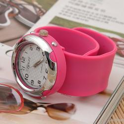 Zegarek slap zaciskowy neonowy róż