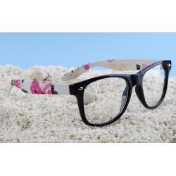 okulary typu wayfarer zerówki kwiaty różowe