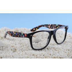 okulary typu wayfarer zerówki znaczki mix