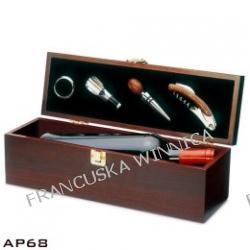Pudełko na wino z akcesoriami (4 elementy: pierścień, nalewak, korek, nóż kelnerski)