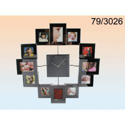 Zegar z ramkami na 12 zdjęć różny rozmiar ramek