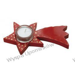 Świecznik drewniany w kształcie gwiazdki - czerwony