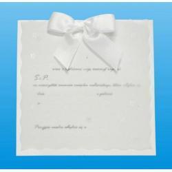 Zaproszenie białe kwadratowe,kokarda-rękodzieło op 10 szt