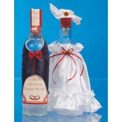 Ubranko na wódkę sukienka z kapeluszem i muszka-bordo