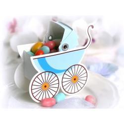 Pudełeczka dla gości, wózeczek błękitny,10szt, 1op