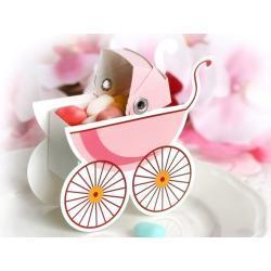 Pudełeczka dla gości, wózeczek różowy, 10 szt, 1op