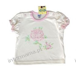Bluzeczka RÓŻYCZKA mleczna kr. rękaw r.74 Odzież