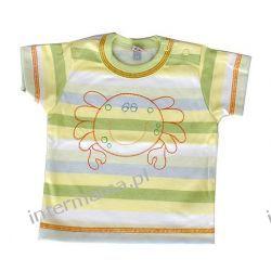 Koszulka KRAB paseczki żólto -zielone kr. rękaw r.74 Odzież