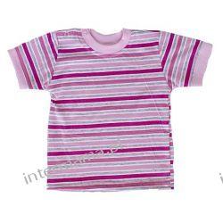 Koszulka paseczki różowo-szare kr. rękaw r.74 Odzież