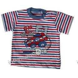 Bluzeczka FORMULA 1 paski niebiesko-czerwone, kr. rękaw r.74 Odzież
