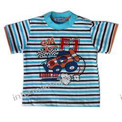 Bluzeczka FORMULA 1paski turkusowe, kr. rękaw r.74 Odzież